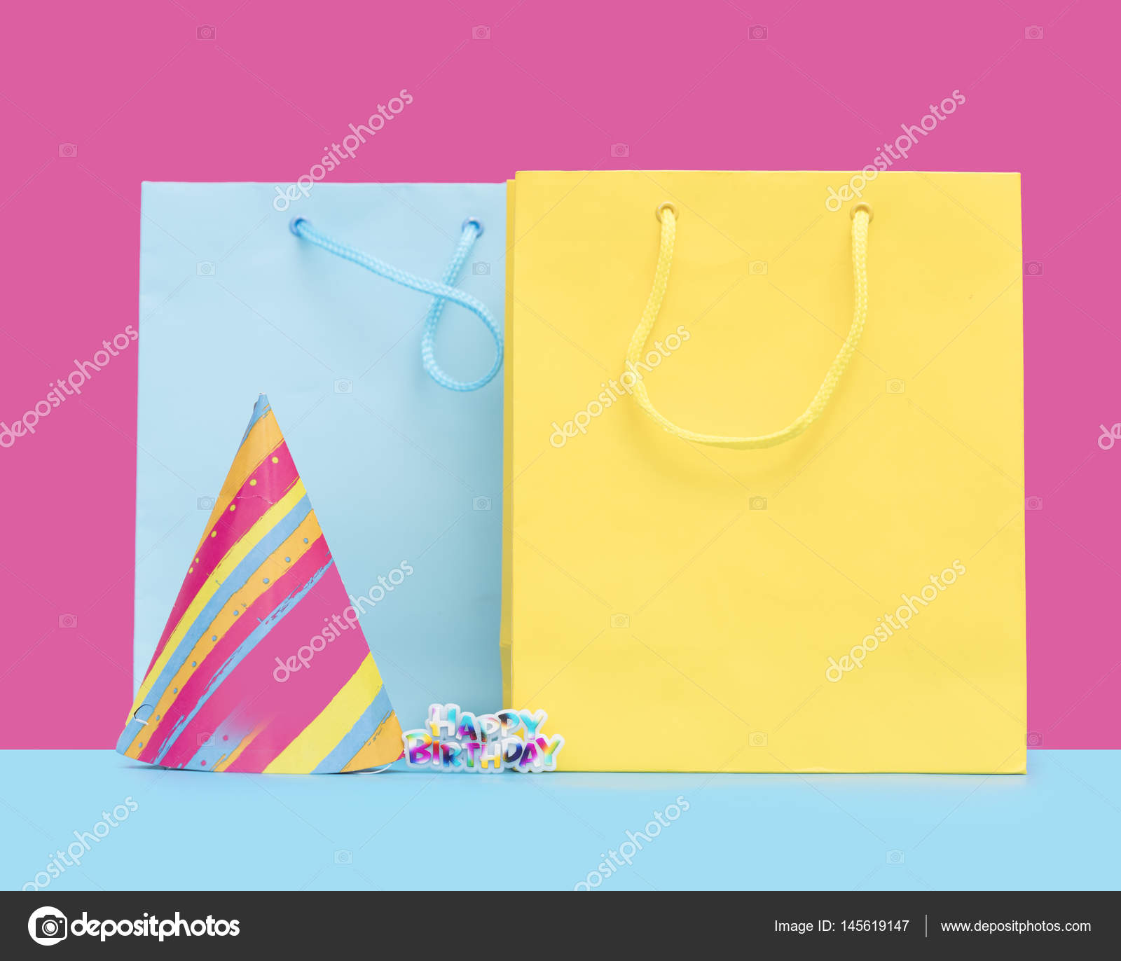 Cool Yellow And Blue Shopping Bags Birthday Hat Sticker In